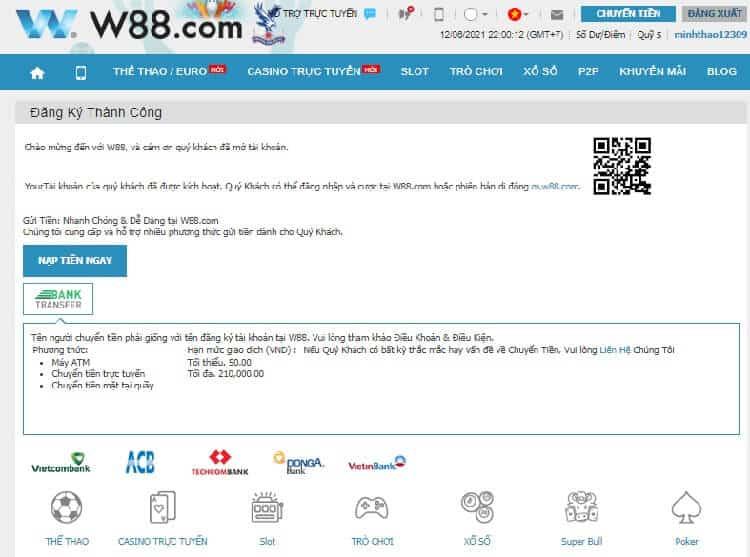 đăng ký w88 thành công