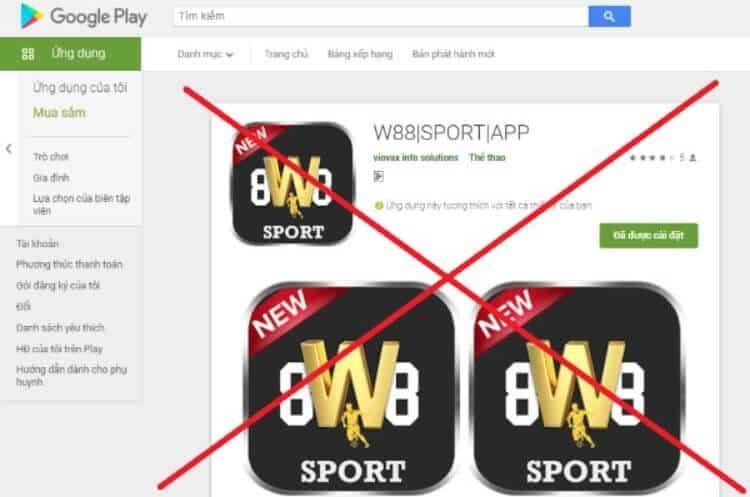 ứng dụng W88 lừa đảo